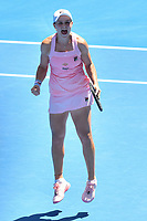 January 20, 2019: 15th seed Ashleigh Barty of Australia celebrates her win in the fourth round match against 30th seed Maria Sharapova of Russia on day seven of the 2019 Australian Open Grand Slam tennis tournament in Melbourne, Australia. Barty won 46 61 64. Photo Sydney Low