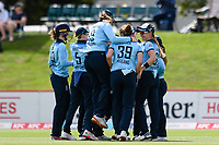 23rd February 2021, Christchurch, New Zealand; England celebrates the wicket of Sophie Devine of New Zealand during the 1st ODI Cricket match, New Zealand versus England, Hagley Oval, Christchurch, New Zealand