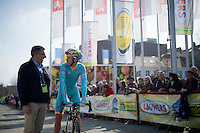 Lars Boom (NLD/Astana) having a pre-race chat with UCI commissar Philippe Mariën<br /> <br /> 103rd Scheldeprijs 2015