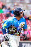 Wisconsin Timber Rattlers outfielder Jay Feliciano (37) runs to first base during a Midwest League game against the Great Lakes Loons on May 12, 2018 at Fox Cities Stadium in Appleton, Wisconsin. Wisconsin defeated Great Lakes 3-1. (Brad Krause/Four Seam Images)