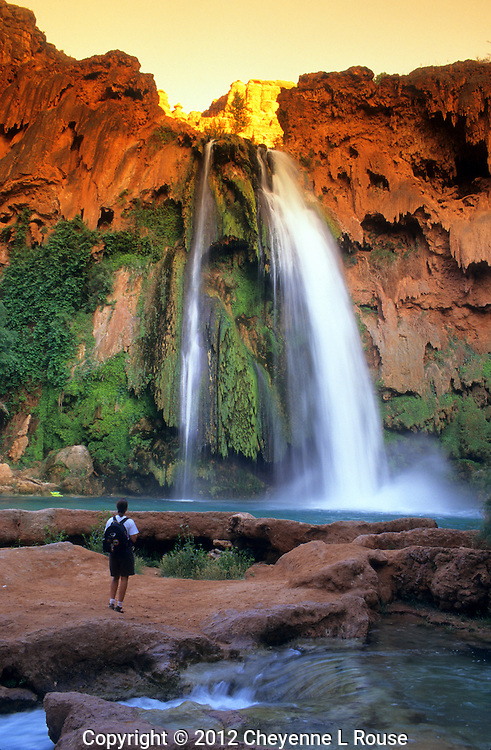 Hiker at Havasu Falls - Arizona - Grand Canyon - Havasupai - Supai Indian Reservation. (MR)