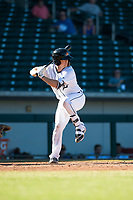 Mesa Solar Sox catcher Jake Rogers (8), of the Detroit Tigers organization, at bat during an Arizona Fall League game against the Glendale Desert Dogs at Sloan Park on October 27, 2018 in Mesa, Arizona. Glendale defeated Mesa 7-6. (Zachary Lucy/Four Seam Images)