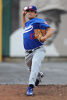 Chattanooga Lookouts Pitcher Nathan Eovaldi #17 warms up in the bullpen before a game against the Tennessee Smokies at Smokies Park on June 18, 2011 in Kodak, Tennessee.  Chattanooga defeated Tennessee 5-3.  (Tony Farlow/Four Seam Images)