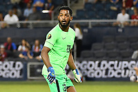 KANSAS CITY, KS - JULY 15: Meslien Gilles #23 of Martinique during a game between Martinique and USMNT at Children's Mercy Park on July 15, 2021 in Kansas City, Kansas.