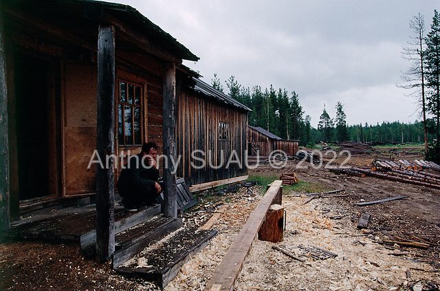 Lambas, Russia<br /> July, 1998<br /> <br /> Building a coffin in a village wood shop.