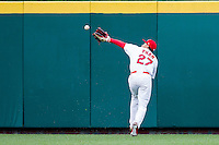 Thomas Pham #27 of the Springfield Cardinals catches a ball in right field during a game against the San Antonio Missions at Hammons Field on April 16, 2013 in Springfield, Missouri. (David Welker/Four Seam Images)