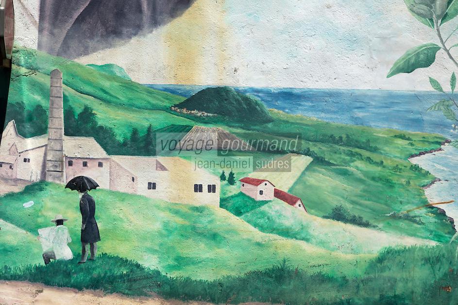 France, île de la Réunion, Saint Joseph, Mur peint  représentant une sucrerie  // France, Ile de la Reunion (French overseas department), Saint Joseph, painted wall  depicting a Sugar-making factory,