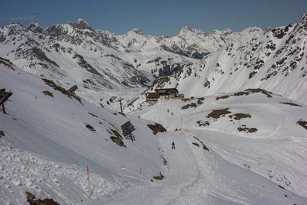 Skiing to the Albona 1 Chairlift at Stuben Ski Area, St Anton, Austria,