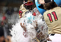 Royce Lewis is doused with an ice bucket after receiving the Player of the Game award in the annual Arizona Fall League Fall Stars Game at Salt River Fields on October, 12, 2019 in Scottsdale, Arizona (Bill Mitchell)