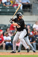 San Antonio Missions second baseman Jake Lemmerman (45) at bat during a game against the Arkansas Travelers on May 24, 2014 at Dickey-Stephens Park in Little Rock, Arkansas.  Arkansas defeated San Antonio 4-2.  (Mike Janes/Four Seam Images)