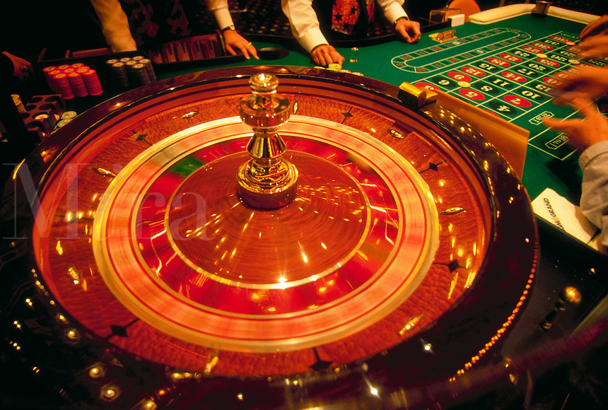 Roulette wheel in a casino.
