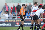 Referee Alain Rolland holds his head.RaboDirect Pro 12.Scarlets v Munster..Parc Y Scarlets.21.04.12.©Steve Pope