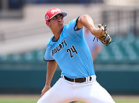 West Broward Bobcats pitcher Michael Fortes (24) during the 42nd Annual FACA All-Star Baseball Classic on June 6, 2021 at Joker Marchant Stadium in Lakeland, Florida.  (Mike Janes/Four Seam Images)