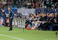 CARSON, CA - SEPTEMBER 21: Guillermo Barros Schelotto head coach of the Los Angeles Galaxy and his bench during a game between Montreal Impact and Los Angeles Galaxy at Dignity Health Sports Park on September 21, 2019 in Carson, California.
