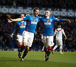 Jon Daly celebrates his goal at the start of the second half with Nicky Law
