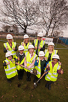 Pictured at the Turf Cutting Ceremony at Annie Holgate Primary School in Hucknall, front row from left are Abbey Davies, 6, Tyrell Atkinson, 7, Isabella Richards, 9, Alfie Grant, 6 and China Atkinson, 5 whilst looking on back row from left are Nicola Davies, Executive Head Teacher, Loretta Day, Assistant Head Teacher, Chair of Governers Colin Lumbis, and Emma Severn, Head of School