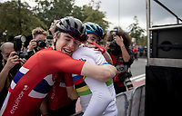 Per Strand Hagenes (NOR) is crowned the newest Junior Men World Champion and is greeted by his teammates after the podium ceremony<br /> <br /> World Championships Junior Men - Road Race (WC)<br /> from Leuven to Leuven (121.4km)<br /> <br /> UCI Road World Championships - Flanders Belgium 2021<br /> <br /> ©kramon