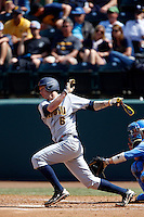 Chris Paul #6 of the California Golden Bears bats against the UCLA Bruins at Jackie Robinson Stadium on March 23, 2013 in Los Angeles, California. (Larry Goren/Four Seam Images)