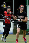 GER - Hannover, Germany, May 30: During the Women Lacrosse Playoffs 2015 match between DHC Hannover (black) and SC Frankfurt 1880 (red) on May 30, 2015 at Deutscher Hockey-Club Hannover e.V. in Hannover, Germany. Final score 23:3. (Photo by Dirk Markgraf / www.265-images.com) *** Local caption *** Rebecca Duecker #12 of SC 1880 Frankfurt, Mareile Kriwall #2 of DHC Hannover
