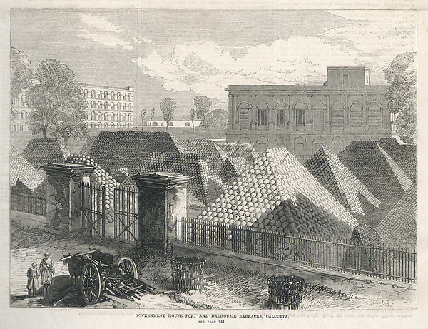 Cannon-balls stored at Dalhousie barracks in Calcutta India. / Illustrated London News. 5 March 1870 page 236 / 1870