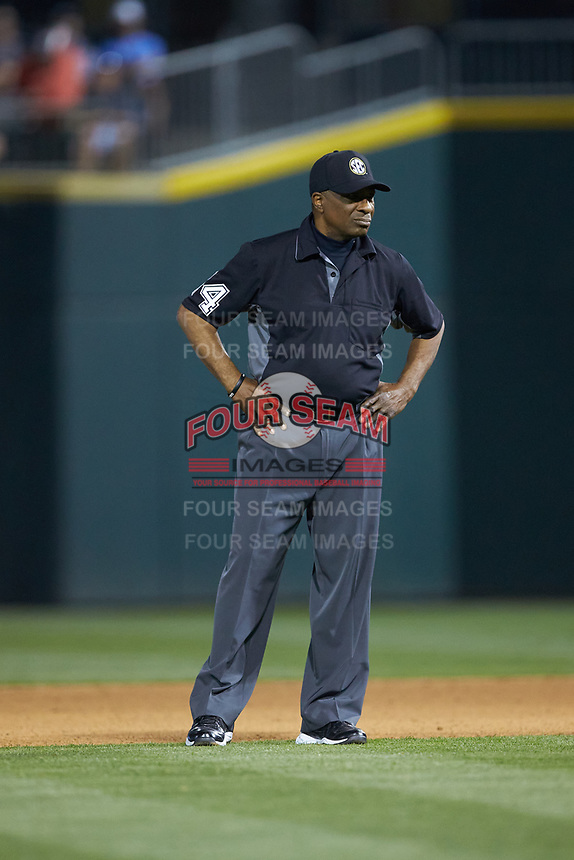 Umpire Randy Watkins works the NCAA baseball game between the North Carolina Tar Heels and the South Carolina Gamecocks at BB&T BallPark on April 3, 2018 in Charlotte, North Carolina. The Tar Heels defeated the Gamecocks 11-3. (Brian Westerholt/Four Seam Images)