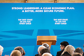 Empty platform.  Conservative Party general election press conference, Kingsmead School, Enfield, London.