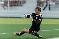 HARTFORD, CT - JULY 10: Jeff Caldwell #13 of Hartford Athletic makes a save during a game between New York Red Bulls II and Hartford Athletics at Dillon Stadium on July 10, 2021 in Hartford, Connecticut.