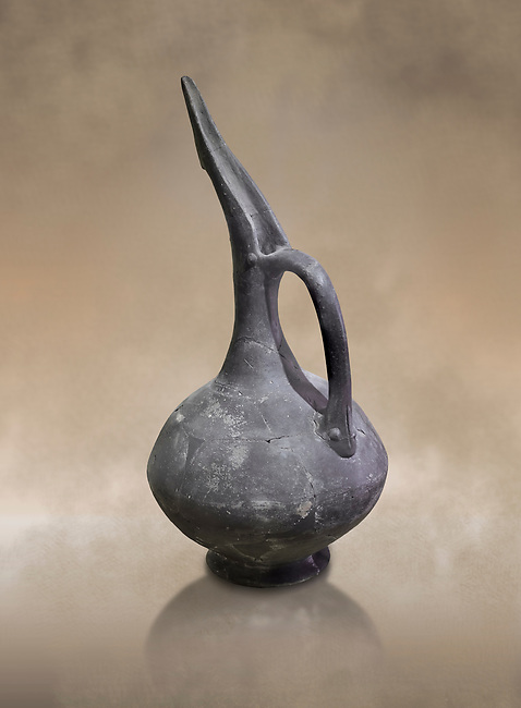 Bronze Age Beak Spout Pitcher in terra cotta. 3200-1900 BC. Hierapolis Archaeology Museum, Turkey. Against an art background