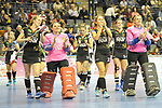 Berlin, Germany, February 09: Players of Germany on their lap of honor after the FIH Indoor Hockey World Cup Pool B group match between Germany (black) and Australia (yellow) on February 9, 2018 at Max-Schmeling-Halle in Berlin, Germany. Final score 2-2. (Photo by Dirk Markgraf / www.265-images.com) *** Local caption *** <br /> #Berlin #HeimWM #FIH #FIHockey #IHWC2018 #DieDanas @diedanas #Deutschland #WirfuerD @dhb_hockey @real_markt @reece_australia @vapiano_germany