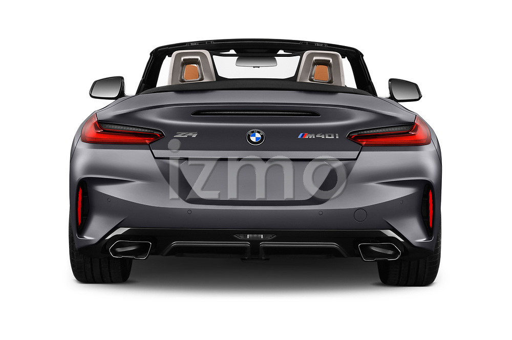 Straight rear view of 2019 BMW Z4 M-Performance 2 Door Convertible Rear View  stock images