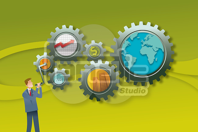 Illustrative concept of man managing gears representing business mechanism