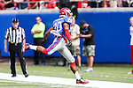 Southern Methodist Mustangs wide receiver Nate Halverson (20) in action during the game between the TCU Horned Frogs and the SMU Mustangs at the Gerald J. Ford Stadium in Fort Worth, Texas.  TCU leads SMU 28 to 0 at half.