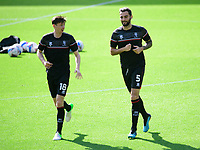 Lincoln City's Conor McGrandles, left, and Adam Jackson during the pre-match warm-up<br /> <br /> Photographer Chris Vaughan/CameraSport<br /> <br /> The EFL Sky Bet League One - Milton Keynes Dons v Lincoln City - Saturday 19th September 2020 - Stadium MK - Milton Keynes<br /> <br /> World Copyright © 2020 CameraSport. All rights reserved. 43 Linden Ave. Countesthorpe. Leicester. England. LE8 5PG - Tel: +44 (0) 116 277 4147 - admin@camerasport.com - www.camerasport.com