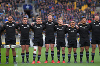 The All Blacks sing the national anthem before the Bledisloe Cup rugby union match between the New Zealand All Blacks and Australia Wallabies at Sky Stadium in Wellington, New Zealand on Sunday, 11 October 2020. From left: Shannon Frizell, George Bridge, Jack Goodhue, Jordie Barrett, Damien McKenzie, Aaron Smith, Codie Taylor and Joe Moody. Photo: Dave Lintott / lintottphoto.co.nz