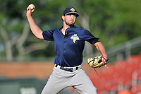 Pitcher Joe Shaw (28) of the Columbia Fireflies delivers a pitch in a game against the Greenville Drive on Sunday, May 8, 2016, at Fluor Field at the West End in Greenville, South Carolina. Greenville won, 5-4. (Tom Priddy/Four Seam Images)