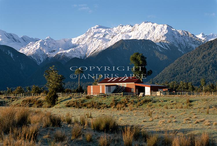 Farm buildings near Franz Josef in the Westland Region of New Zealand.