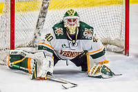 19 January 2018: University of Vermont Catamount Goaltender Stefanos Lekkas, a Sophomore from Elburn, IL, expresses a feeling of frustration after giving up the game-timing third period goal to University of Massachusetts Lowell Riverhawks Forward Connor Sodergren, a Freshman from Tewskbury, MA, at Gutterson Fieldhouse in Burlington, Vermont. The Riverhawks rallied to defeat the Catamounts 3-2 in overtime of their Hockey East matchup. Mandatory Credit: Ed Wolfstein Photo *** RAW (NEF) Image File Available ***