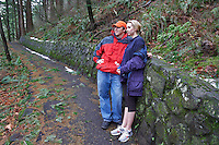 Couple on trail near Multnomah Falls, Oregon