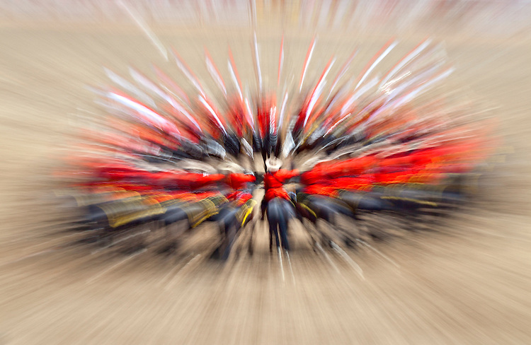 Abstract view of the Royal Canadian Mounted Police's Musical Ride during Stampede in Calgary, Alberta, Canada