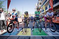 Stage 5 rankings leaders:<br /> - yellow (GC): Adam Yates (GBR/Mitchelton-Scott)<br /> - green (points): Wout van Aert (BEL/Jumbo-Visma)<br /> - polka dots (KOM): Casper Pedersen (DEN/Sunweb)<br /> - white (youth): runner-up after van Aert > Nils Politt (DEU/Katusha-Alpecin)<br /> <br /> Stage 5: Boën-sur-Lignon to Voiron (201km)<br /> 71st Critérium du Dauphiné 2019 (2.UWT)<br /> <br /> ©kramon