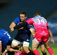 2nd October 2020; RDS Arena, Dublin, Leinster, Ireland; Guinness Pro 14 Rugby, Leinster versus Dragons; Jack Conan (Leinster) attempts to go through a tackle from Jonah Holmes (Dragons)