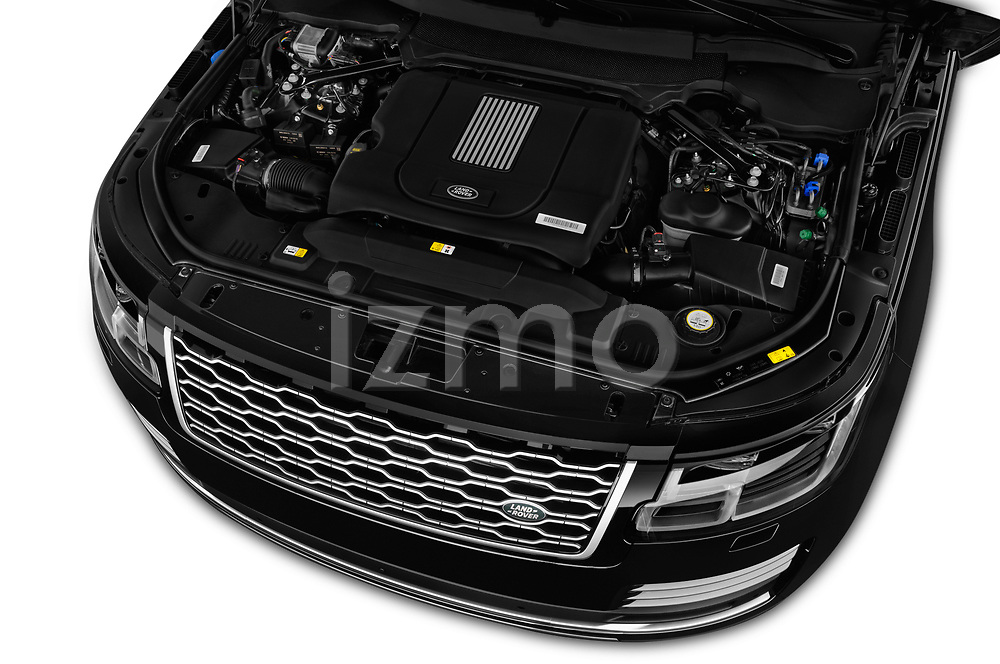 Car stock 2019 Land Rover Range Rover Autobiography 5 Door SUV engine high angle detail view