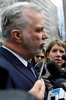 Quebec Premier Philippe Couillard attend Claire Kirkland-Casgrain's  funeral, April2nd, 2016.<br /> <br /> Photo : Agence Quebec Presse