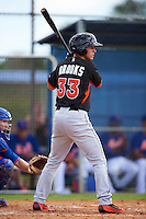 Miami Marlins Mathew Brooks (33) during an Instructional League game against the New York Mets on September 29, 2016 at the Port St. Lucie Training Complex in Port St. Lucie, Florida.  (Mike Janes/Four Seam Images)