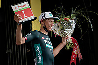Nils Politt (DEU/BORA - hansgrohe) celebrating his stage victory on the podium ànd also receiving teh combativity price for the stage.<br /> <br /> Stage 12 from Saint-Paul-Trois-Châteaux to Nîmes (159km)<br /> 108th Tour de France 2021 (2.UWT)<br /> <br /> ©kramon