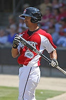 Sean Henry #12 of the Carolina Mudcats on deckduring a game against the West Tenn Diamond Jaxx on May 30, 2010 in Zebulon, NC.