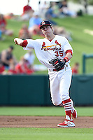 Springfield Cardinals third baseman Patrick Wisdom (35) throws to first during a game against the Frisco Rough Riders on June 1, 2014 at Hammons Field in Springfield, Missouri.  Springfield defeated Frisco 3-2.  (Mike Janes/Four Seam Images)