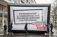 """Protestkundgebung der Linkspartei vor dem Bundesministerium fuer Gesundheit in Berlin unter dem Motto """"Menschen vor Profite: Pflegenotstand stoppen!""""  am Freitag den 6. Maerz 2020.<br /> Mit einem Großtransparent """"Personalmangel in Krankenhaus und Altenpflege gefaehrdet Ihre Gesundheit"""" protestierten Mitglieder der Partei vor dem Eingang des Ministeriums gegen die """"verheerende Situation in der Pflege"""".<br /> Der Parteivorsitzende Bernd Riexinger machte auf die Missstaende gerade waehrend der aktuellen Conora-Krise aufmerksam und forderte 100 000 Pflegekraefte in Krankenhaeusern und 120 000 Pflegekraefte mehr in der Altenpflege einzustellen und 500,- Euro im Monat mehr Grundgehalt in der Pflege.<br /> 6.3.2020, Berlin<br /> Copyright: Christian-Ditsch.de<br /> [NUR FUER REDAKTIONELLE ZWECKE! Werbung nur auf Anfrage beim Fotografen. Inhaltsveraendernde Manipulation des Fotos nur nach ausdruecklicher Genehmigung des Fotografen. Vereinbarungen ueber Abtretung von Persoenlichkeitsrechten/Model Release der abgebildeten Person/Personen liegen nicht vor. NO MODEL RELEASE! Don't publish without copyright Christian-Ditsch.de, Veroeffentlichung nur mit Fotografennennung, sowie gegen Honorar, MwSt. und Beleg. Konto: I N G - D i B a, IBAN DE58500105175400192269, BIC INGDDEFFXXX, Kontakt: post@christian-ditsch.de<br /> Bei der Bearbeitung der Dateiinformationen darf die Urheberkennzeichnung in den EXIF- und  IPTC-Daten nicht entfernt werden, diese sind in digitalen Medien nach §95c UrhG rechtlich geschuetzt. Der Urhebervermerk wird gemaess §13 UrhG verlangt.]"""