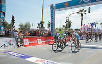 Elia Viviani (ITA/Cannondale) beats Andrea Guardini (ITA/Astana) & Mark Cavendish (GBR/OPQS) to the finish line<br /> <br /> Tour of Turkey 2014<br /> stage 7