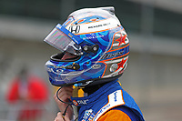 28th May 2021; Indianapolis, Indiana, USA;  NTT Indy Car Series driver Scott Dixon (9) puts on his helmet during Miller Lite Carb Day as teams prepare for the 105th running of the Indianapolis 500